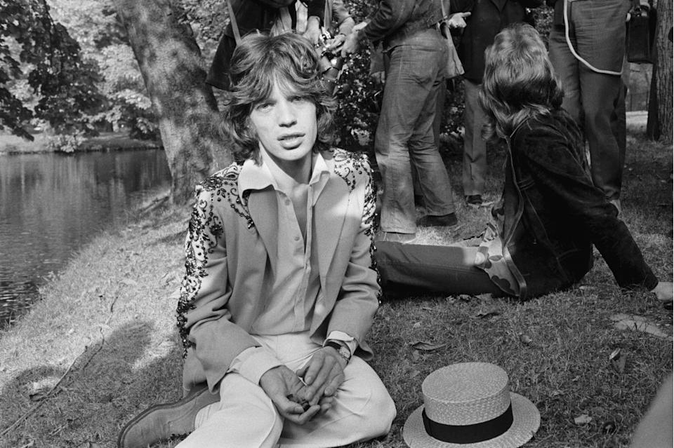 <p>Mick Jagger finds a minute to relax during a press conference for the Rolling Stones' Parisian concert at the Palais des Sports, 1966. </p>