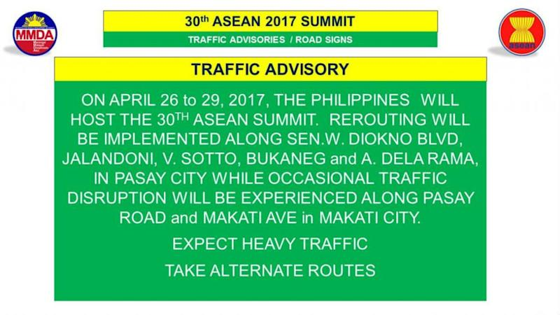 MMDA ASEAN Summit Rerouting Scheme