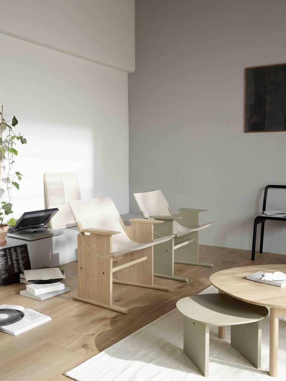 """<p>For Denmark-based Takt, a transparent, responsible approach to design is as important as how products look and function. Happily, its 'Sling' chair ticks all the boxes. Designed by Sam Hecht and Kim Colin of British firm Industrial Facility, it comprises a linen 'hammock' that slides over an oak frame, so it's light to ship, easy to assemble and comfortable. From £416, <a href=""""https://taktcph.com/"""" rel=""""nofollow noopener"""" target=""""_blank"""" data-ylk=""""slk:taktcph.com"""" class=""""link rapid-noclick-resp"""">taktcph.com</a></p>"""