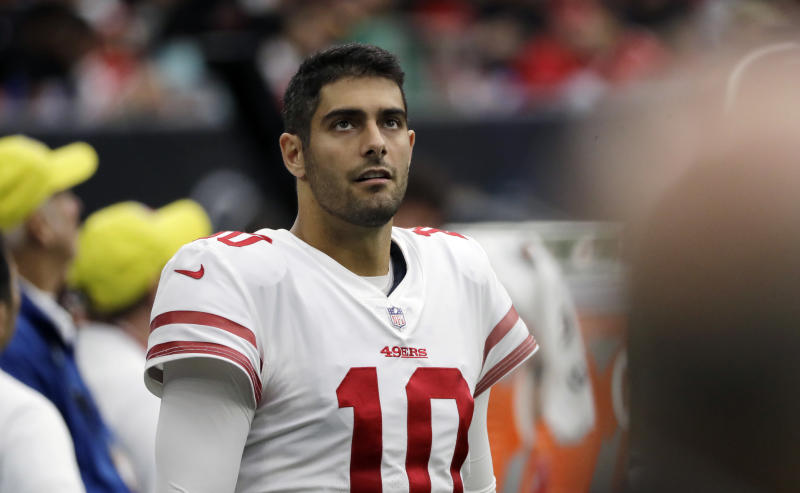 Jimmy Garoppolo was traded from the Patriots to the 49ers before this year's trading deadline. (AP)