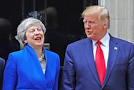 Prime Minister Theresa May welcoming US President Donald Trump to Downing Street, London, on the second day of his state visit to the UK. (PA)