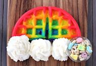 """<p>A tiny bowl of Lucky Charms is the pot of gold at the end of these rainbow waffles.</p><p>Get the recipe from <a href=""""http://www.tablespoon.com/recipes/rainbow-waffles/869f8cde-20ca-4aa9-8306-724a923a703a"""" rel=""""nofollow noopener"""" target=""""_blank"""" data-ylk=""""slk:Tablespoon"""" class=""""link rapid-noclick-resp"""">Tablespoon</a>.</p>"""