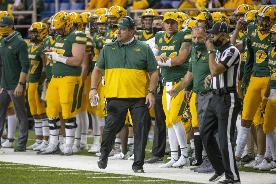 North Dakota State head coach Matt Entz watches his team play against Central Arkansas at an NCAA college football game Saturday, Oct. 3, 2020, in Fargo, N.D. North Dakota State won 39-28. (AP Photo/Bruce Kluckhohn)