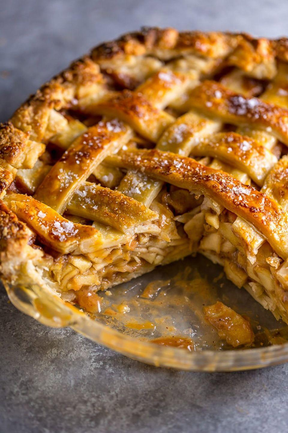 """<p>Be sure to save some of the homemade salted caramel sauce to drizzle on each slice.</p><p><strong>Get the recipe at <a href=""""https://bakerbynature.com/salted-caramel-apple-pie/"""" rel=""""nofollow noopener"""" target=""""_blank"""" data-ylk=""""slk:Baker by Nature"""" class=""""link rapid-noclick-resp"""">Baker by Nature</a>.</strong> </p>"""