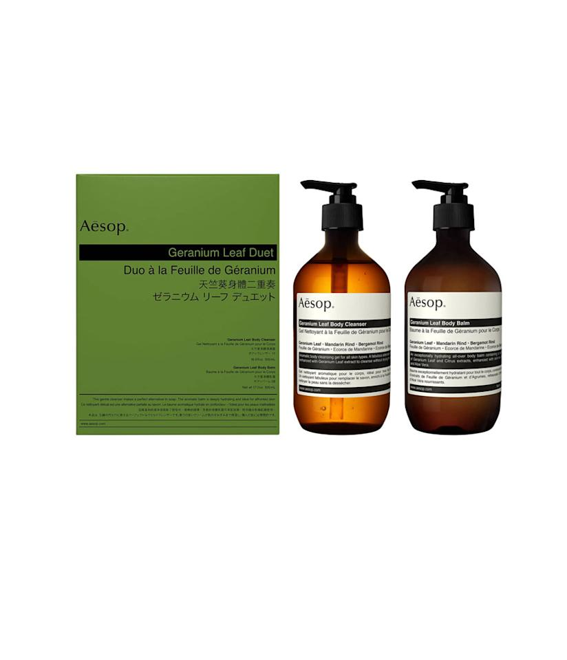 """<p>We know your heart will stop when you see the price, but trust us, if you haven't heard of Aesop, your partner definitely has. It's the crème de la crème of beauty. Together, this bath set will help her skin to feel fresh, soft and rejuvenated. <br /><a rel=""""nofollow"""" href=""""https://fave.co/2SYCqE3""""><strong>Shop it:</strong></a> $125, <a rel=""""nofollow"""" href=""""https://fave.co/2SYCqE3"""">nordstrom.com</a> </p>"""