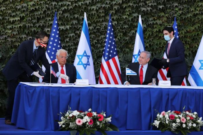 Israeli Prime Minister Netanyahu and U.S. Ambassador to Israel Friedman attend a special ceremony to extend Israel-U.S. scientific cooperation agreement in West Bank and Golan Heights, in Ariel in the Israeli-occupied West Bank