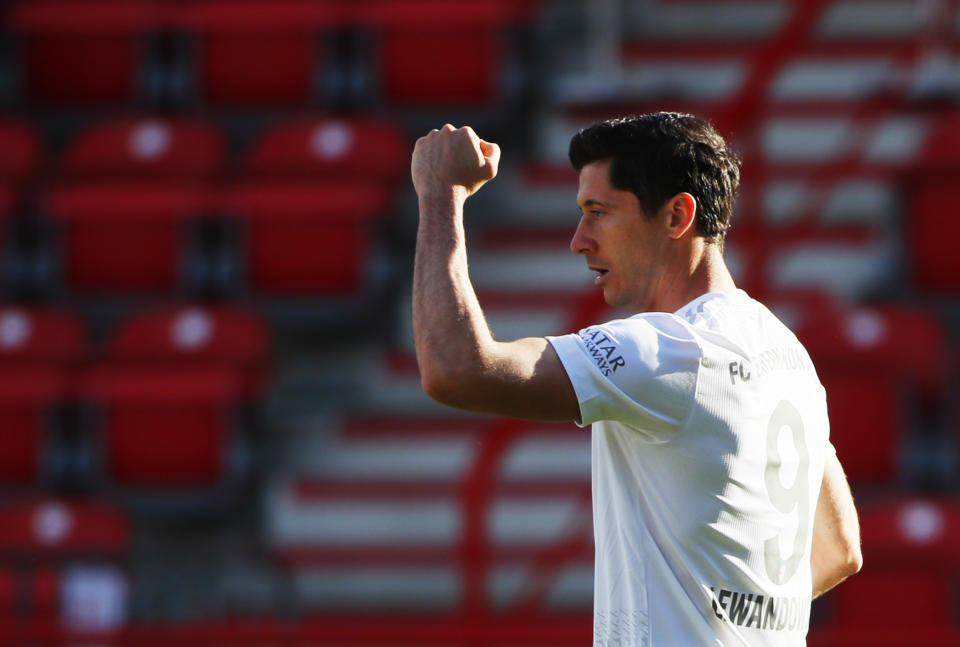 Robert Lewandowski now shares a feat with Lionel Messi and Cristiano Ronaldo. (Photo by Hannibal Hanschke/Pool via Getty Images)