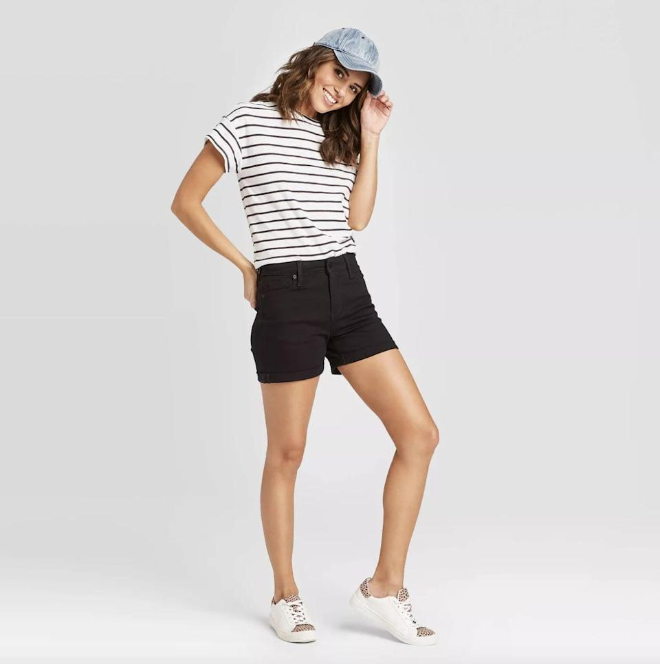 <p>Yes, these <span>Universal Thread High-Rise Slim Fit Jean Shorts</span> ($18) will make you look and feel good. Pair them with a t-shirt and some low sneakers for a cool off-duty look.</p>