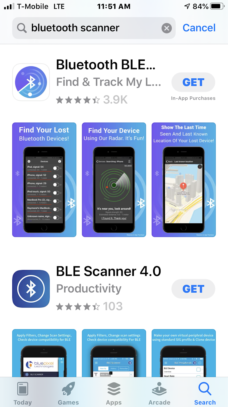 Bluetooth scanners offered in app store