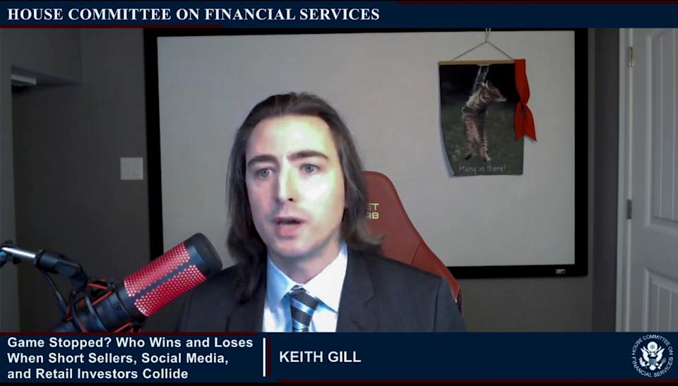 "Keith Gill, an individual online investor in GameStop, testifies during an entirely virtual hearing of the U.S. House of Representatives Committee on Financial Services entitled ""Game Stopped? Who Wins and Loses When Short Sellers, Social Media, and Retail Investors Collide?"", in Washington, U.S., February 18, 2021.   House Committee on Financial Services/Handout via Reuters"