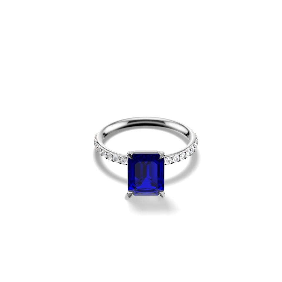 <p>The blue color on this <span>Gemist the Emerald Solitaire Pavé Ring</span> ($1,350) is so stunning.</p>