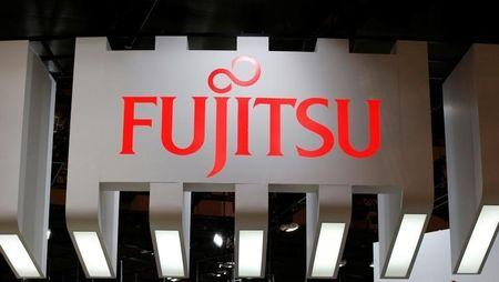 A logo of Fujitsu is pictured at CEATEC JAPAN 2016 in Chiba