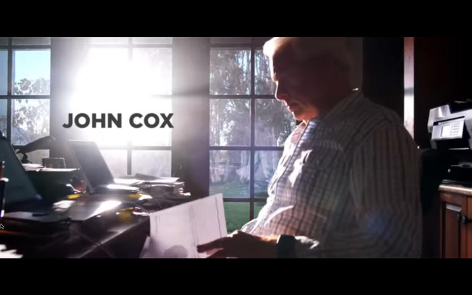 This image taken from video provided by John Cox for Governor 2021 INC. shows a still from a newly released campaign video of Republican gubernatorial candidate John Cox. Cox and Caitlyn Jenner, two Republicans running to oust California Gov. Gavin Newsom, sought to make a fresh impression with voters Tuesday, May 4, 2021, with the release of new campaign ads, marking a new phase in the pending recall. (John Cox for Governor 2021 INC. via AP)
