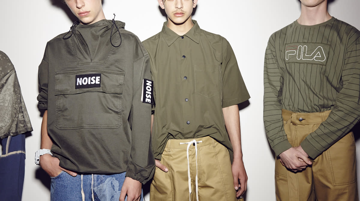 <p>The Kent-born designer also collaborated with sportswear giant Fila, sending out army-hued styles.<br /><i>[Photo: BFC]</i> </p>