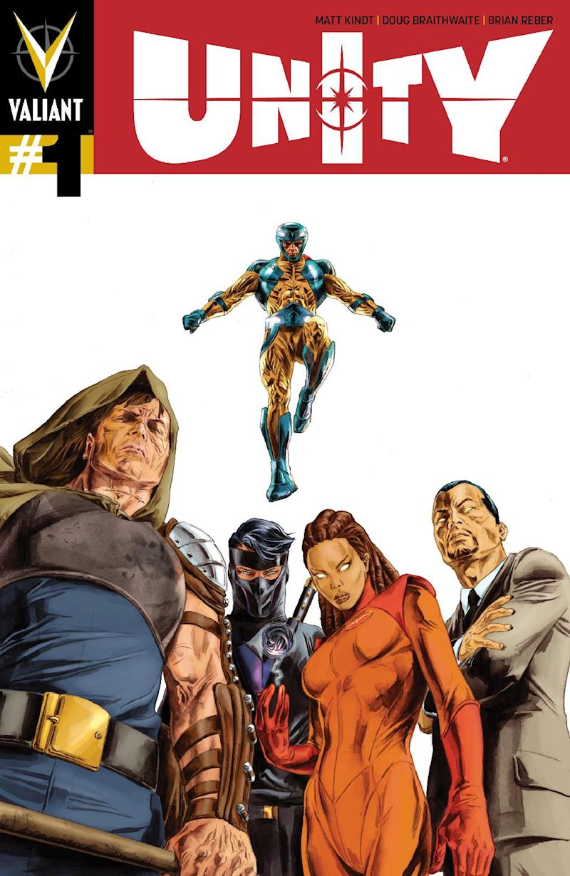 """This photo released by Valiant Entertainment shows the cover of """"Unity"""" which melds Valiant's roster of heroes as a force of one to not just thwart the powerful X-O Manowar, but to break him and, maybe, free a country, too. For Valiant Entertainment, """"Unity"""" is the next step expanding the universe that found life and sales in the 1990's, faded out and reborn anew in 2011 to acclaim. (AP Photo/Valiant Entertainment)"""