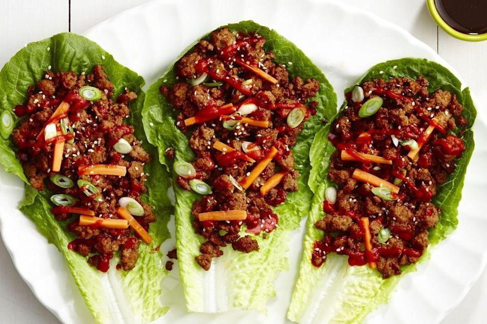 "<p>If you're looking for a <a href=""https://www.delish.com/uk/cooking/recipes/g29890570/healthy-lunch-ideas/"" rel=""nofollow noopener"" target=""_blank"" data-ylk=""slk:healthy recipe"" class=""link rapid-noclick-resp"">healthy recipe</a> that's not salad, these pork wraps are the answer.</p><p>Get the <a href=""https://www.delish.com/uk/cooking/recipes/a34280981/sweet-n-spicy-pork-lettuce-wraps-recipe/"" rel=""nofollow noopener"" target=""_blank"" data-ylk=""slk:Sweet 'n Spicy Pork Lettuce Wraps"" class=""link rapid-noclick-resp"">Sweet 'n Spicy Pork Lettuce Wraps</a> recipe.</p>"