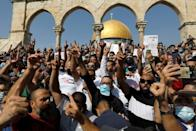 Palestinians Muslims demonstrated against Macron after Friday prayers at Al-Aqsa Mosque compound, Islam's third holiest site