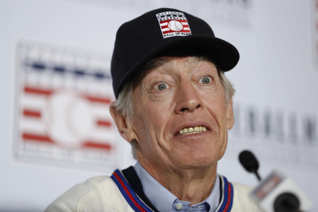 Former St. Louis Cardinals catcher Ted Simmons wears a Hall of Fame jersey during the Major League Baseball winter meetings Monday, Dec. 9, 2019, in San Diego. Simmons was elected into the Hall of Fame Sunday. (AP Photo/Gregory Bull)