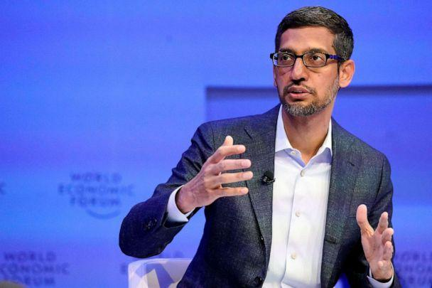 PHOTO: Sundar Pichai, Chief Executive Officer of Alphabet, gestures as he speaks during a session of the 50th World Economic Forum annual meeting in Davos, Switzerland, Jan. 22, 2020. (Denis Balibouse/Reuters, FILE)