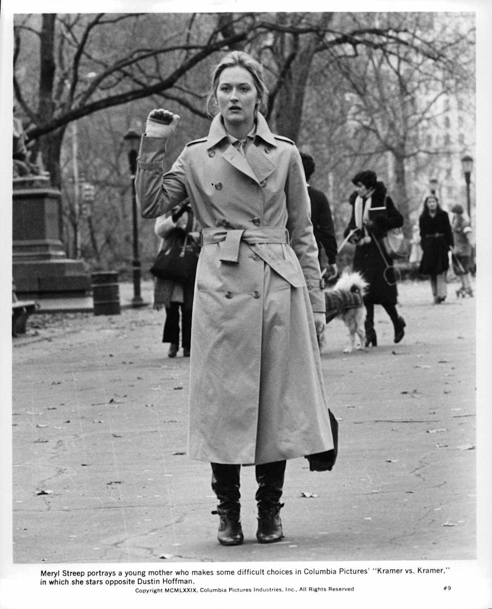 <p>Pairing slouchy boots with long coats or dresses was a popular silhouette in this period, exemplified perfectly by Meryl Streep. </p>