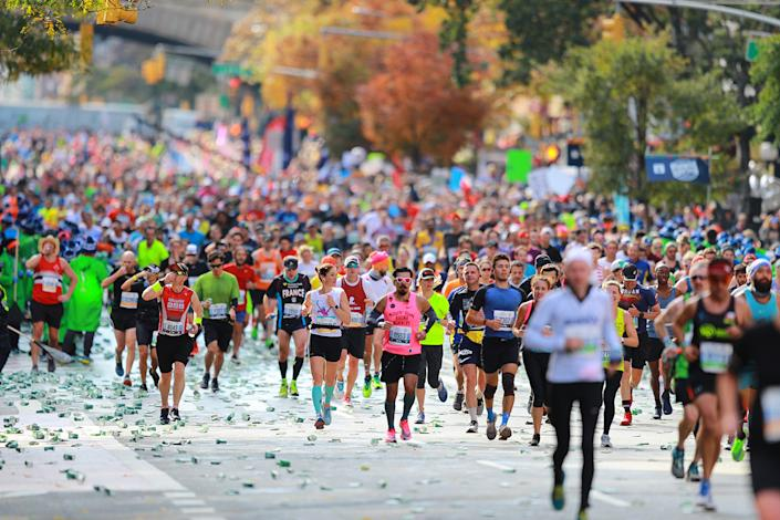Runners make their way north on First Avenue during the 2019 TCS New York City Marathon. Established in 1970, the annual race winds through all of the city's five boroughs. (Photo: Gordon Donovan/Yahoo News)