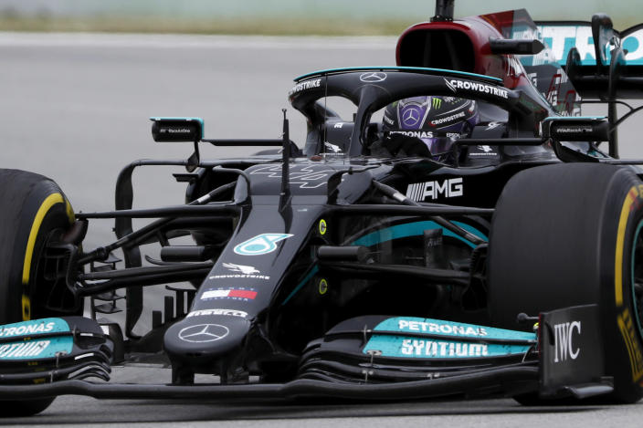 Mercedes driver Lewis Hamilton of Britain steers his car during the Spanish Formula One Grand Prix at the Barcelona Catalunya racetrack in Montmelo, just outside Barcelona, Spain, Sunday, May 9, 2021. (AP Photo/Joan Monfort)