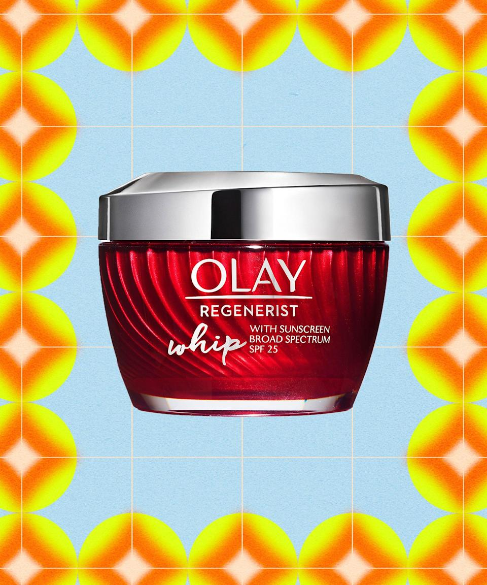 """<strong><h2>Olay Regenerist Whip SPF25</h2></strong><br><strong>Best for:</strong> Delivering lightweight hydration and sun protection<br> <br><strong>How it works:</strong> Even if you keep blotting papers on hand 24/7, that doesn't mean you should be skipping the moisturizer. Those with oily skin still need proper hydration, which you can get with this hydrating whip. The light-as-air texture feels weightless on skin (a non-negotiable for anyone prone to grease), offers sun protection, and leaves your complexion soft and matte.<br><br><strong>Olay</strong> Regenerist Whip SPF25 Moisturizer, $, available at <a href=""""https://go.skimresources.com/?id=30283X879131&url=https%3A%2F%2Fwww.cvs.com%2Fshop%2Folay-regenerist-whip-with-sunscreen-spf-25-moisturizer-1-7-oz-prodid-1660066"""" rel=""""nofollow noopener"""" target=""""_blank"""" data-ylk=""""slk:CVS (Promo Offers Available)"""" class=""""link rapid-noclick-resp"""">CVS (Promo Offers Available)</a>"""