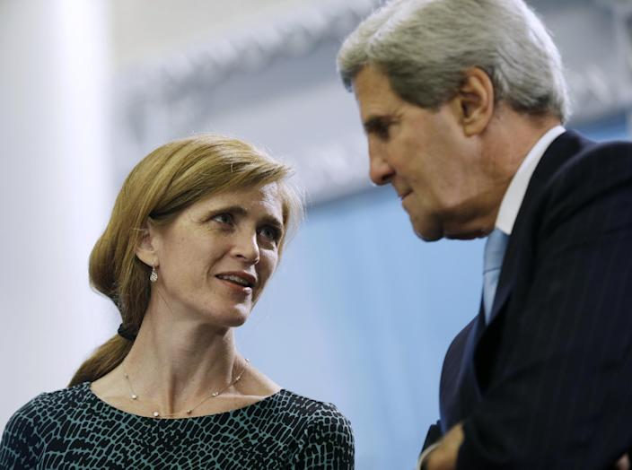 US Ambassador to the United Nations Samantha Powers talks with Secreatry of State John Kerry during a bilateral meeting between President Barack Obama and Lebanese President Michel Suleiman at the United Nations headquarters, Tuesday, Sept. 24, 2013. (AP Photo/Pablo Martinez Monsivais)