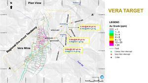 Plan view of the ongoing drilling program at Vera