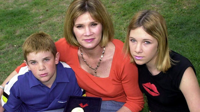 Tracey Wickham, pictured here with children Daniel and Hannah in 2006.