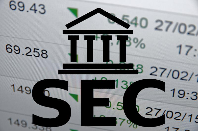 SEC logo with stock results in the background