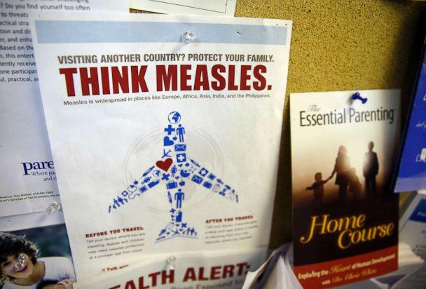 PHOTO: A flyer educating parents about measles is displayed on a bulletin board at a pediatrics clinic in Greenbrae, Calif., Feb. 6, 2015. (Eric Risberg/AP, FILE)