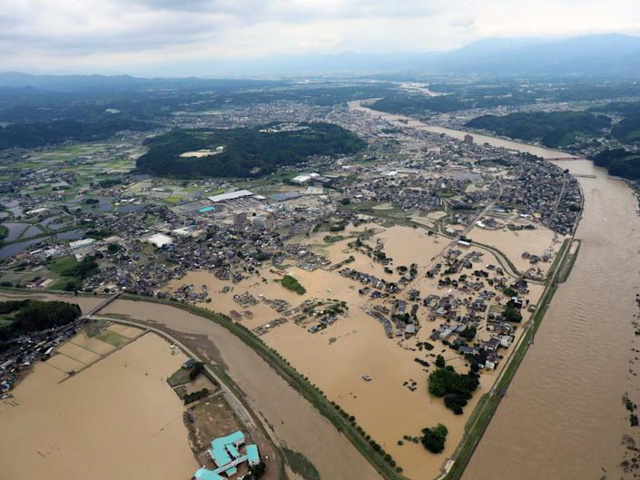 An aerial view of the floods in Hitoyoshi, Kumamoto prefecture, southwestern Japan, 4 July 2020: EPA