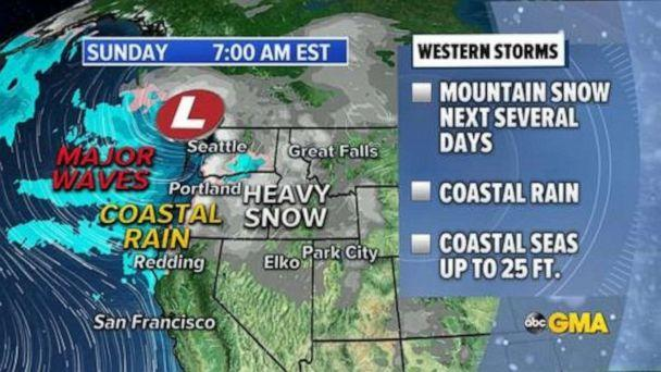 PHOTO: A series of storms are expected to hit the Pacific Northwest through the week bringing heavy mountain snow, coastal rain and extremely dangerous marine conditions with coastal waves up to 25 feet high. (ABC News)