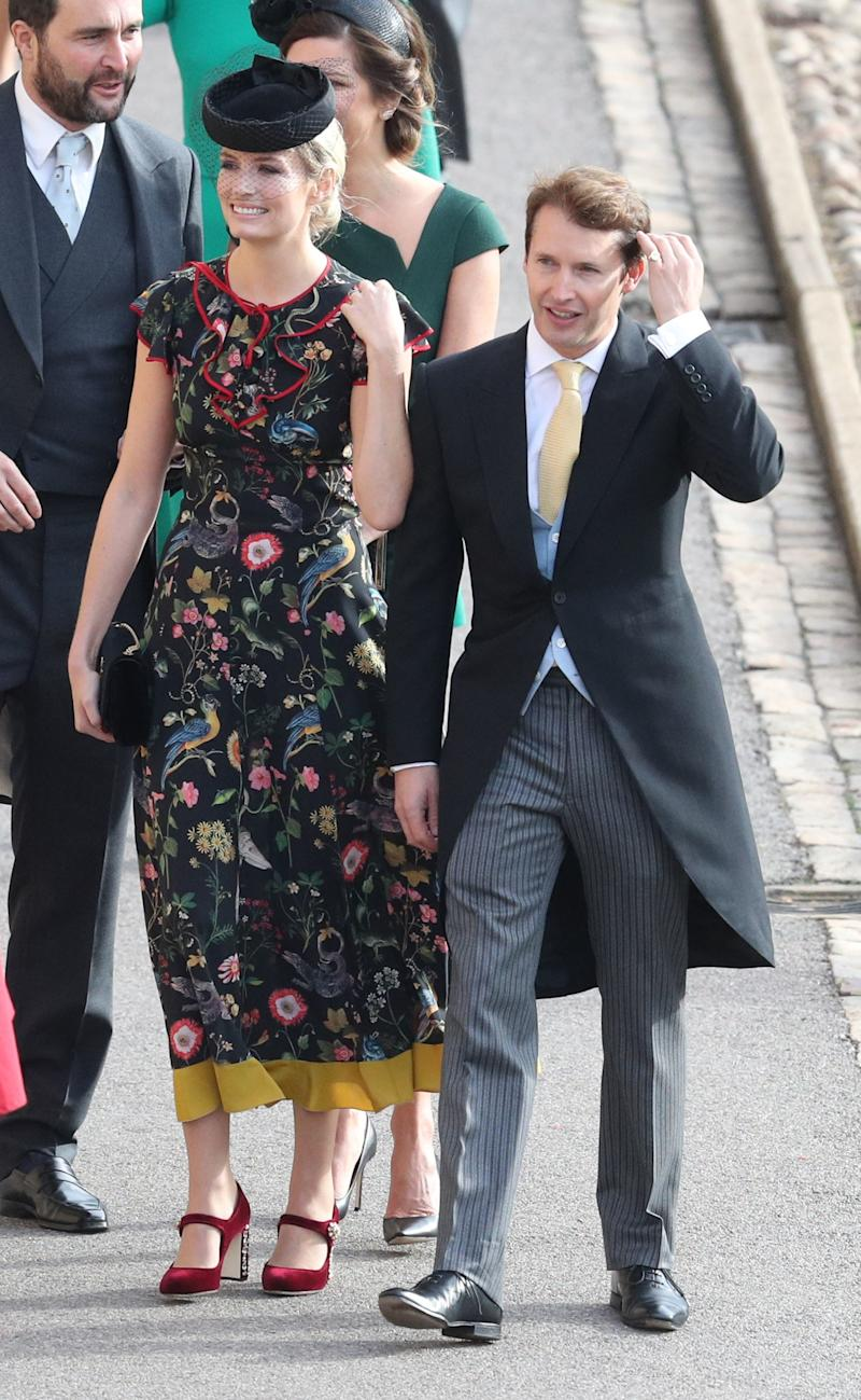 James Blunt and Sofia Wellesley arrive ahead of the wedding of Princess Eugenie of York and Mr. Jack Brooksbank at St. George's Chapel on October 12, 2018, in Windsor, England.