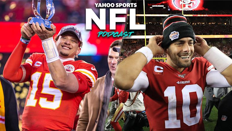 Patrick Mahomes (L) and Jimmy Garoppolo (R) celebrate after winning the AFC & NFC Championships, respectively, and advancing to Super Bowl LIV. (Photos L to R by William Purnell/Icon Sportswire via Getty Images, Sean M. Haffey/Getty Images)