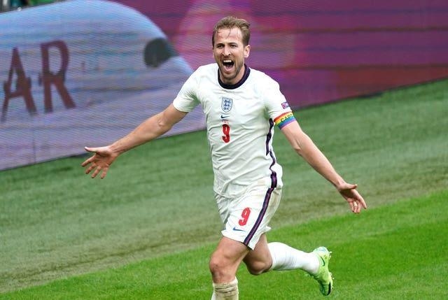 Harry Kane celebrates his first goal of the tournament against Germany