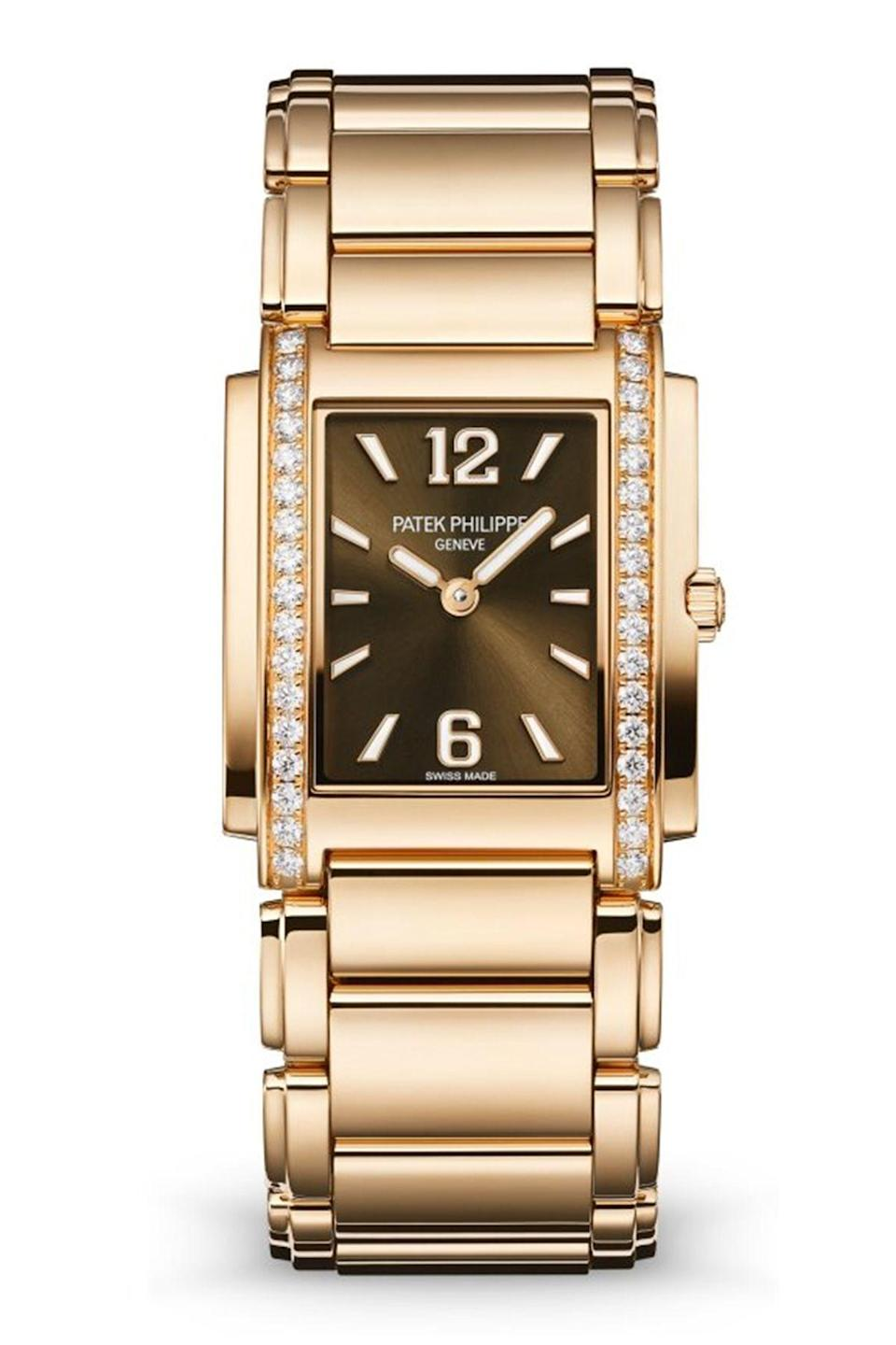 """<p><strong>Patek Philippe</strong></p><p><a href=""""https://www.patek.com/en/collection/twenty4/4910-1201R-001"""" rel=""""nofollow noopener"""" target=""""_blank"""" data-ylk=""""slk:Shop Now"""" class=""""link rapid-noclick-resp"""">Shop Now</a></p><p>A classic silhouette in an updated color-way, for those who want to make a statement. </p>"""