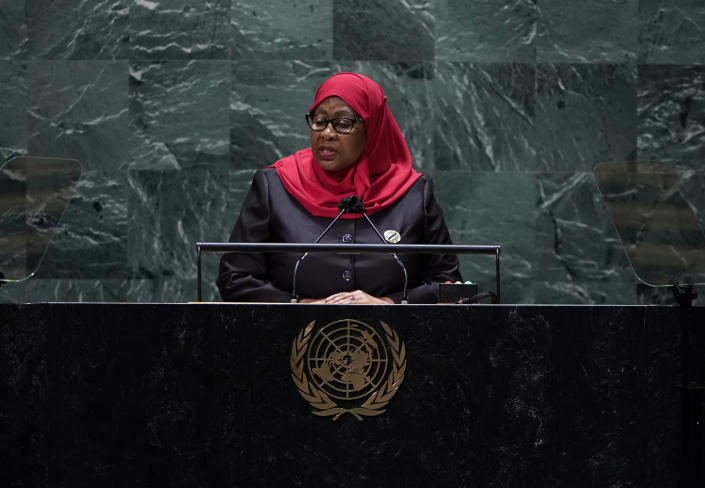 The President of Tanzania, Samia Suluhu Hassan addresses the 76th Session of the U.N. General Assembly at United Nations headquarters in New York, on Thursday, Sept. 23, 2021. (Timothy A. Clary/Pool Photo via AP)