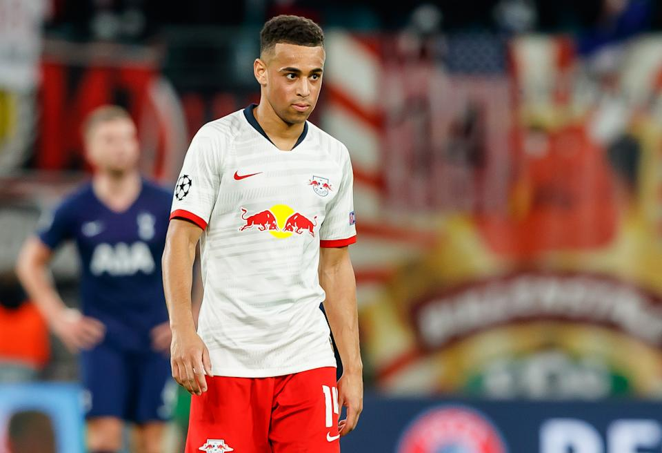LEIPZIG, GERMANY - MARCH 10: (BILD ZEITUNG OUT) Tyler Adams of RB Leipzig looks on during the UEFA Champions League round of 16 second leg match between RB Leipzig and Tottenham Hotspur at Red Bull Arena on March 10, 2020 in Leipzig, Germany. (Photo by Roland Krivec/DeFodi Images via Getty Images)