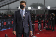 BYU quarterback Zach Wilson appears on the Red Carpet at the Rock & Roll Hall of Fame before the NFL football draft, Thursday, April 29, 2021, in Cleveland. (AP Photo/David Dermer, Pool)