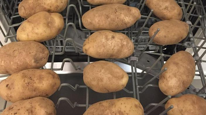 """<p>Seriously, <a href=""""https://www.delish.com/food/a19863154/you-can-wash-potatoes-in-the-dishwasher/"""" rel=""""nofollow noopener"""" target=""""_blank"""" data-ylk=""""slk:it's a foolproof way of cleaning your dirty vegetables"""" class=""""link rapid-noclick-resp"""">it's a foolproof way of cleaning your dirty vegetables</a> when hand-washing won't suffice. Make sure there's no soap in the machine, of course, and a simple rinsing cycle will do the trick. </p>"""