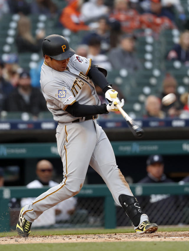 Pittsburgh Pirates' Jung Ho Kang hits a two-run home run in the fourth inning of a baseball game against the Detroit Tigers in Detroit, Tuesday, April 16, 2019. (AP Photo/Paul Sancya)