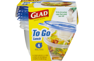 "Glad To Go Lunch containers, <a href=""https://www.amazon.com/Glad-Food-Storage-Containers-Lunch/dp/B00SHJ87CO?tag=%7Btag%7D"" target=""_blank"">$3.21 for four on Amazon</a> (Glad)"