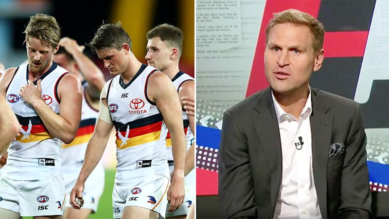 Pictured left, Adelaide Crows players and AFL pundit Kane Cornes on Channel Nine.