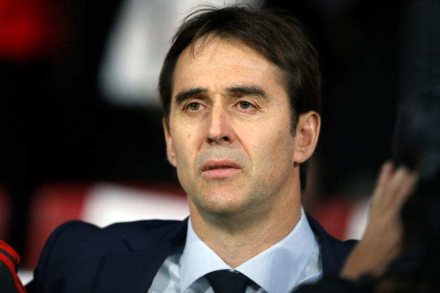 FILE - In this Tuesday, March 27, 2018 file photo, Spain's coach Julen Lopetegui listens to the national anthem during the international friendly soccer match between Spain and Argentina at the Wanda Metropolitano stadium in Madrid. (AP Photo/Paul White, File)