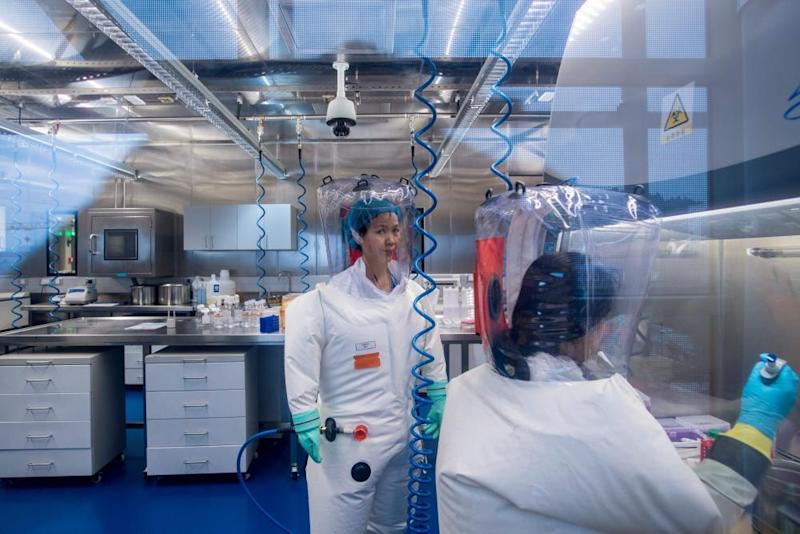 Scientists inside a laboratory in Wuhan, China