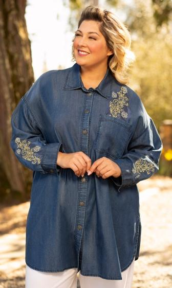 Embroidered Denim Long Sleeve Oversize Tunic (Photo via On the Plus Side)