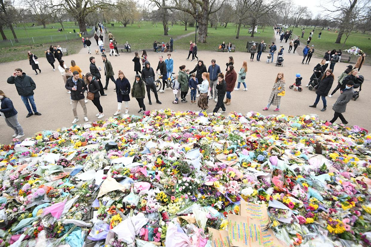 Floral tributes left at the bandstand in Clapham Common for Sarah Everard in March. (PA)