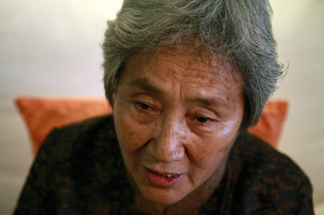 Zhang Xianling whose late son, Wang Nan was killed in the 1989 Tiananmen Square crackdown speaks during an interview ahead of the June 4 anniversary in Beijing, China, Monday, May 28, 2012. Zhang said her friend Ya Weilin, a father of a man killed in the 1989 crackdown had committed suicide on Friday, May 25, 2012 out of despair and to protest the government's long-standing refusal to address the grievances of the victims' relatives. (AP Photo/Ng Han Guan)